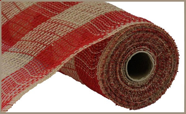 Faux Jute Large Check Red/Natural