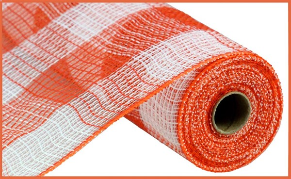 Faux Jute Large Check Orange/White