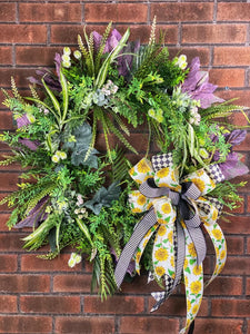 Sunflower Greenery Wreath