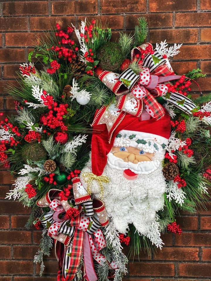 Huge Holiday Santa Wreath
