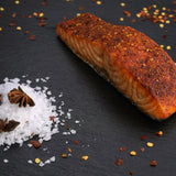 Chilly Pepper Marinated Fresh Salmon,  Lightly Smoked For Baking