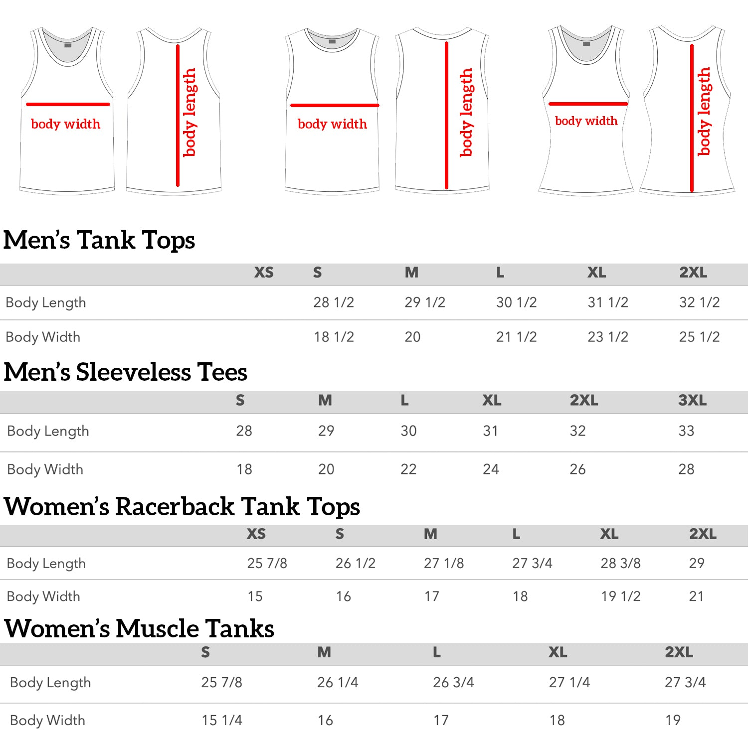 tank top and sleeveless tee sizing chart