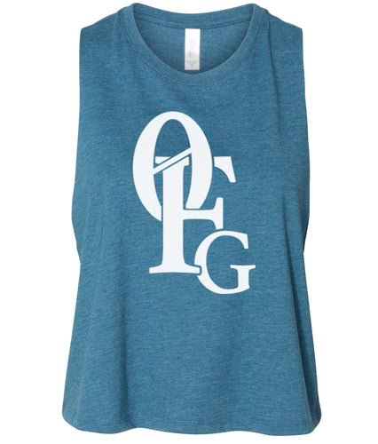 teal 0FG cropped tank top