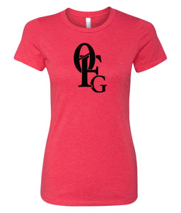 red 0FG crewneck women's t shirt