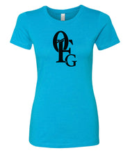 Load image into Gallery viewer, turquoise 0FG crewneck women's t shirt