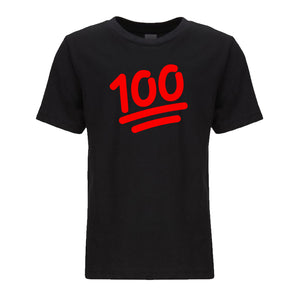 black 100 youth crewneck t shirt for kids