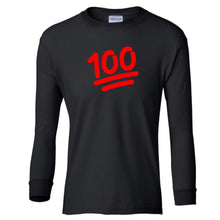 Load image into Gallery viewer, black 100 youth long sleeve t shirt for girls