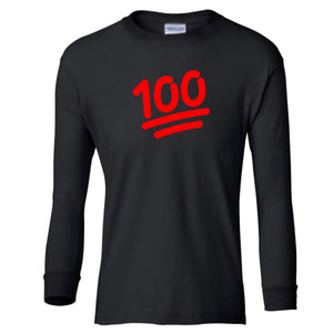 black 100 youth long sleeve t shirt for girls