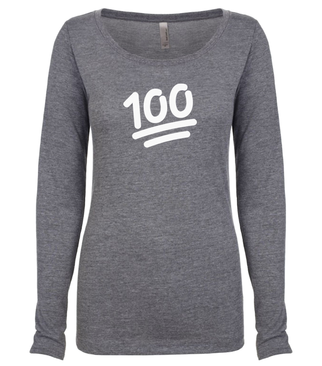 grey 100 long sleeve scoop shirt for women