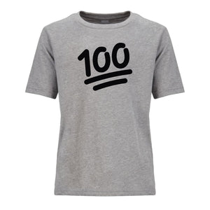 grey 100 youth crewneck t shirt for kids