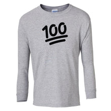 Load image into Gallery viewer, grey 100 youth long sleeve t shirt for girls