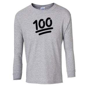 grey 100 youth long sleeve t shirt for girls