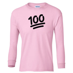 pink 100 youth long sleeve t shirt for girls