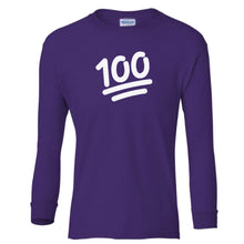 Load image into Gallery viewer, purple 100 youth long sleeve t shirt for girls