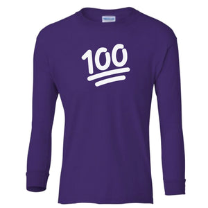 purple 100 youth long sleeve t shirt for girls