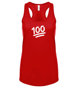 red 100 racerback tank top for women