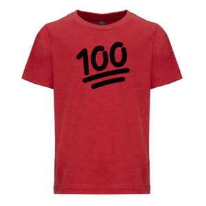red 100 youth crewneck t shirt for kids