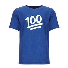 Load image into Gallery viewer, blue 100 youth crewneck t shirt for kids