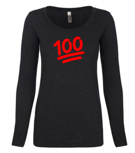 black 100 long sleeve scoop shirt for women