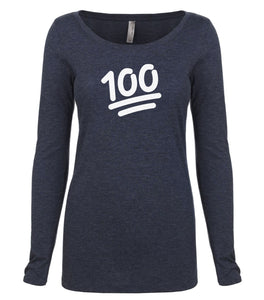 navy 100 long sleeve scoop shirt for women