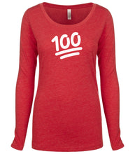 Load image into Gallery viewer, red 100 long sleeve scoop shirt for women