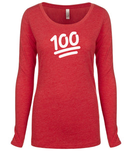 red 100 long sleeve scoop shirt for women