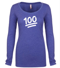Load image into Gallery viewer, blue 100 long sleeve scoop shirt for women