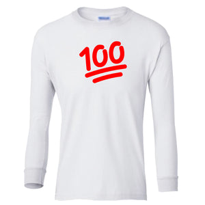 white 100 youth long sleeve t shirt for girls
