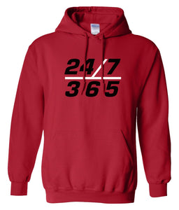 red 24/7 365 pullover hoodie