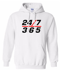 white 24/7 365 pullover hoodie