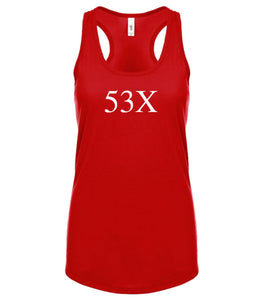 red 53X racerback tank top for women
