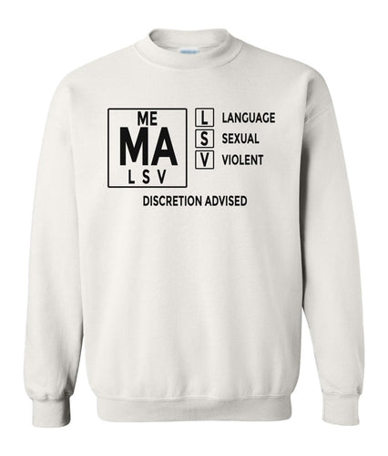white mature audiences sweatshirt
