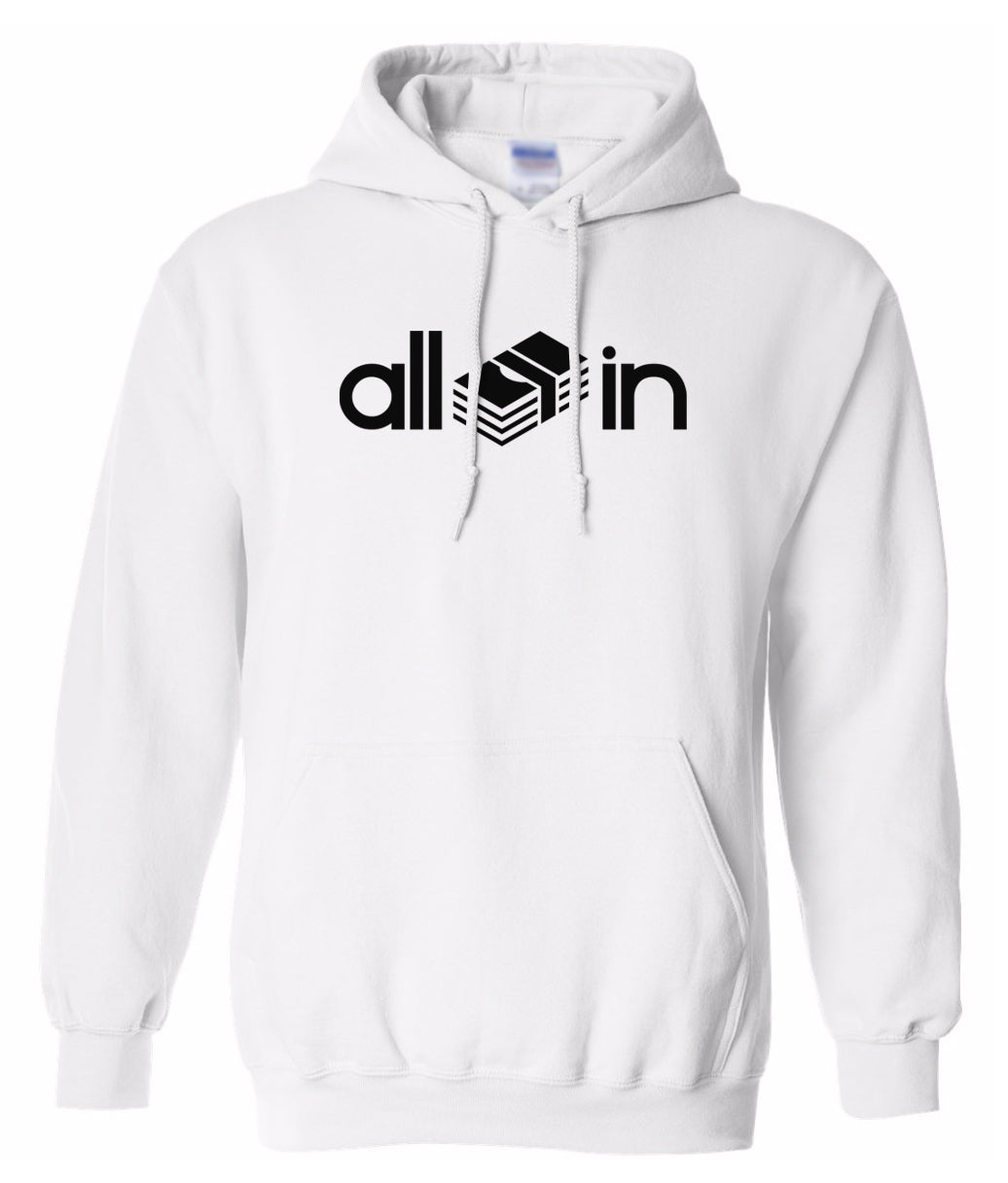 white all in pullover hoodie