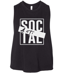 black antisocial cropped tank top