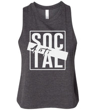 Load image into Gallery viewer, charcoal antisocial cropped tank top