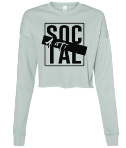 dusty blue antisocial cropped sweatshirt