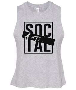 grey antisocial cropped tank top