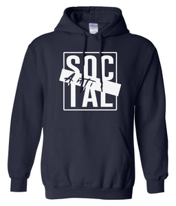 navy antisocial pullover hoodie