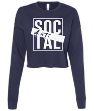 Load image into Gallery viewer, navy antisocial cropped sweatshirt