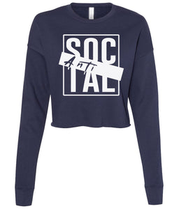 navy antisocial cropped sweatshirt