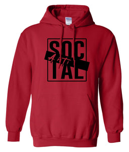 red antisocial pullover hoodie