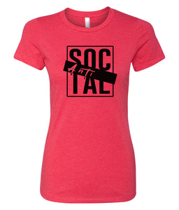 red antisocial crewneck women's t shirt