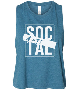 teal antisocial cropped tank top