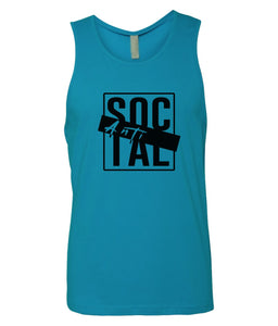 turquoise antisocial mens tank top