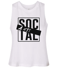 Load image into Gallery viewer, white antisocial cropped tank top