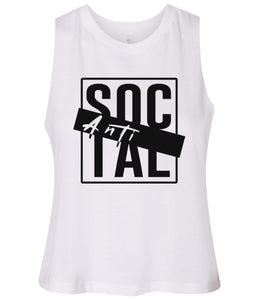 white antisocial cropped tank top