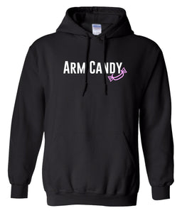 black arm candy hooded sweatshirt
