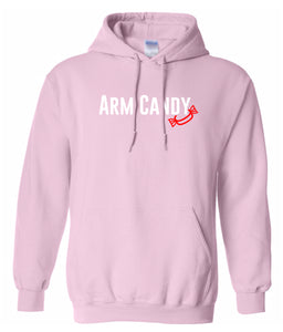 pink arm candy hooded sweatshirt