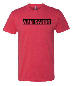 red arm candy crewneck t shirt