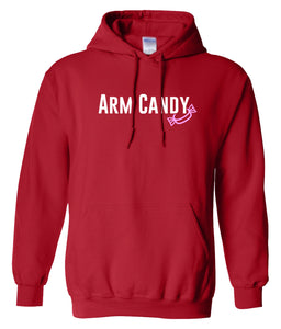 red arm candy hooded sweatshirt